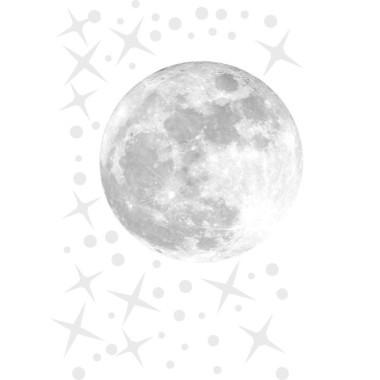 Véritable lune et étoiles - Sticker décoratif Stickers enfants Dimensions approximatives (largeur x hauteur) Basique: 95x70 cm Petit: 125x85 cm Moyen: 165x110 cm Grand:220x140 cm Géant: 285x175 cm  AJOUTER UN PRÉNOM À PARTIR DE 9,95 €  vinilos infantiles y bebé Starstick