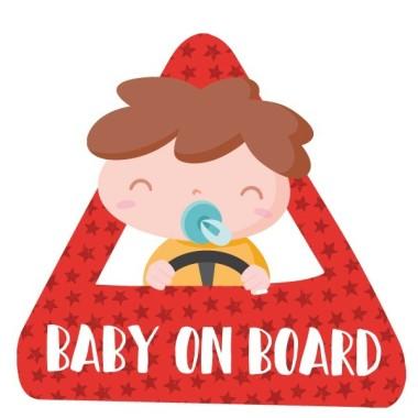 """Bebé a bordo –  Adhesivo para coche Pegatinas Bebé a bordo Pegatinas para coche """"Bebé a bordo"""". Triángulo para pegar en la parte exterior del coche. Tamaño del triangulo: 16x15 cm Material: Vinilo mate laminado vinilos infantiles y bebé Starstick"""