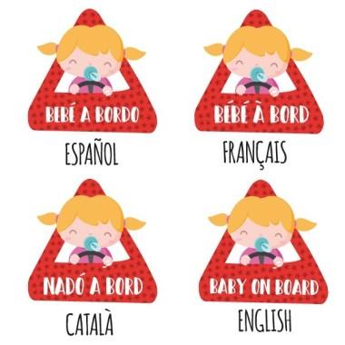 """Bébé à bord fille - Adhésif pour voiture Stickers bébé à bord Adhésif pour voiture """"Bébé à bord fille"""" Dimensions: 16x15 cm Matériau:Sticker autocollantpelliculage vinilos infantiles y bebé Starstick"""