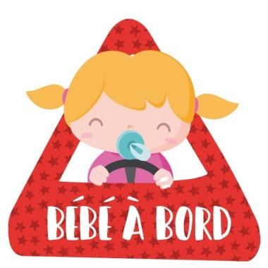 """Bebé a bordo niña –  Adhesivo para coche Pegatinas Bebé a bordo Pegatinas para coche """"Bebé a bordo niña"""". Triángulo para pegar en la parte exterior del coche. Tamaño del triangulo: 16x15 cm Material: Vinilo mate laminado vinilos infantiles y bebé Starstick"""