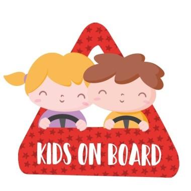 """Nens a bord - Adhesiu per a cotxe Adhesius Nadó a bord Adhesius per a cotxe """"Nens a bord"""". Triangle per enganxar a la part exterior del cotxe.Mida del triangle: 16x15 cmMaterial: Vinil mat laminat vinilos infantiles y bebé Starstick"""