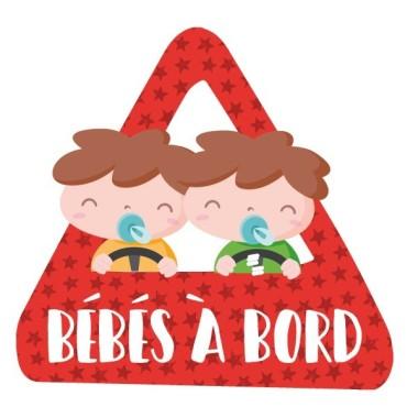 """Bebés a bordo (2 niños) –  Adhesivo para coche Bebé a bordo Pegatinas para coche """"Bebés a bordo - 2 niños"""". Triángulo para pegar en la parte exterior del coche. Tamaño del triangulo: 16x15 cm Material: Vinilo mate laminado vinilos infantiles y bebé Starstick"""