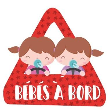 Bebés a bordo (2 niñas) –  Adhesivo para coche