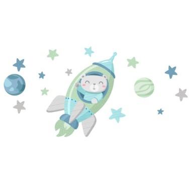 Vinil nadó - Coet amb osset. Mint Vinils nadó Vinil per a nadons amb un osset en un coet. Afectuós vinil decoratiu per a convertir les habitacions de nadons en dolços espais plens de tendresa i amor. El vinil inclou el coet, les estrelles i els planetes.  Mides aproximades del vinil enganxat (ample x alt) Petit: 90x50 cm Mitjà:140x65 cm Gran: 220x140 cm Gegant: 300x175 cm AFEGEIX UN NOM AL VINIL DES DE 9,99€    vinilos infantiles y bebé Starstick