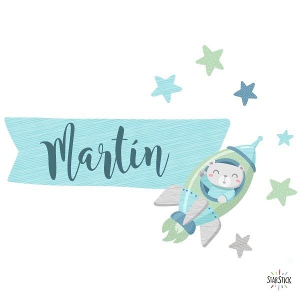 Rocket avec ours - Sticker nom de porte Stickers porte chambre Taillede la feuille/montage 1 prénom: 25x20 cm 2 prénoms: 25x25 cm   vinilos infantiles y bebé Starstick