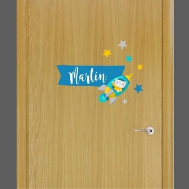 Coet amb osset - Vinil infantil nom per a portes