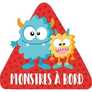 """Monstres à bord - Adhésif pour voiture Stickers bébé à bord Adhésif pour voiture """"Monstres à bord"""" Dimensions: 16x15 cm Matériau:Sticker autocollantpelliculage vinilos infantiles y bebé Starstick"""