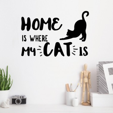 "Vinilo de pared - Home is where my cat is  - Vinilos decorativos citas y frases célebres Stickers phrase Vinilo decorativo ideal para los amantes de los gatos. ""Home is where my cat is"" Vinilos para decorar paredes, muebles, espejos... Puedes seleccionar el color y el tamaño que mas se adapte a tus necesidades. Medidas aproximadas del vinilo montado (ancho x alto) Básico: 30x20 cm Pequeño: 45x30 cm Mediano: 60x40 cm vinilos infantiles y bebé Starstick"