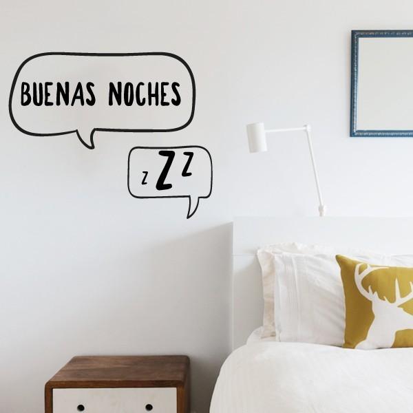 Buenas noches - Stickers décoratifs phrases et citations Stickers phrase Dimensions approximatives (largeur x hauteur) Basique:30x20 cm Petit:40x30 cm Moyen: 50x43 cm vinilos infantiles y bebé Starstick