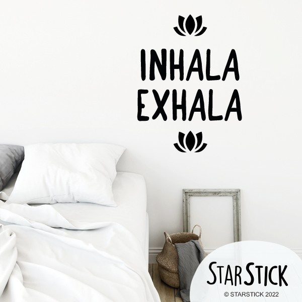 Inhala Exhala - Stickers décoratifs phrases et citations Stickers phrase Dimensions approximatives (largeur x hauteur) Petit: 30x22 cm Moyen: 40x30 cm Grand: 60x45 cm         vinilos infantiles y bebé Starstick