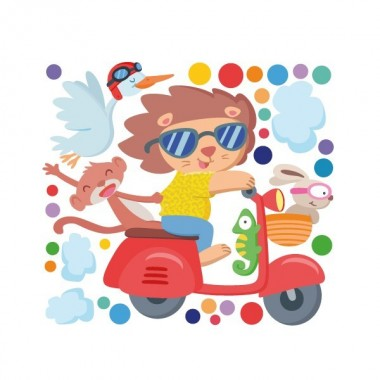 Vespa avec des animaux - Sticker décoratif pour enfants Stickers enfants Dimensions approximatives (largeur x hauteur) Basique: 60x40cm Petit: 100x50 cm Moyen:130x70 cm Grand: 175x100 cm Géant: 220x120 cm  AJOUTER UN PRÉNOM À PARTIR DE 9,95 € vinilos infantiles y bebé Starstick