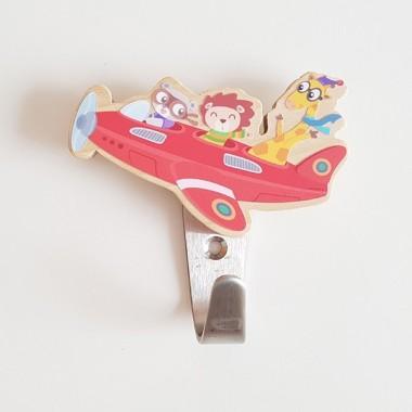 Patères enfants  - Avion avec des animaux Patères Taille de l'avion avec des animaux: 10x7cmMatériel: Silhouette de bois de bouleau et crochet en acier vinilos infantiles y bebé Starstick