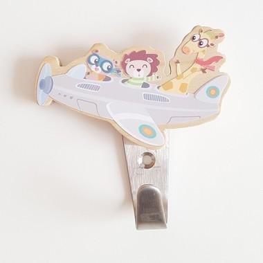 Colgador infantil - Avión con animales