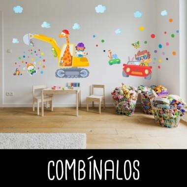 Vinilos para niños - Coche con animales - Vinilo decorativo infantil