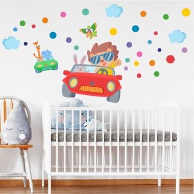 Vinils infantil - Cotxe amb animals - Vinil decoratiu infantil