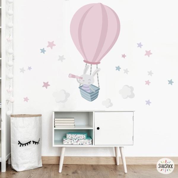 Stickers pour enfants - Lapin explorateur. Rose