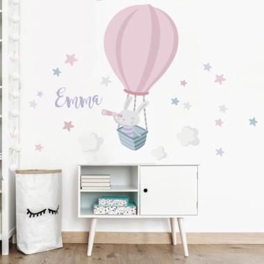Vinilos para bebé - Conejito explorador en globo. Rosa