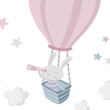 Stickers pour enfants - Lapin explorateur. Rose Sticker muraux chambre bébé Dimensions approximatives (largeur x hauteur) Basique: 70x50 cm Petit: 110x80 cm Moyen:140x100 cm Grand: 190x136 cm Géant: 250x180 cm  AJOUTER UN PRÉNOM À PARTIR DE 9,95 € vinilos infantiles y bebé Starstick