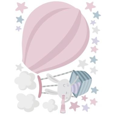 Vinils per nadó - Conillet explorador en globus. Rosa Vinils nadó Vinil decoratiu en tons rosa i gris amb un curiós conillet volant en globus. Una bona proposta per decorar habitacions de nadó de manera original. StarStick, adhesius i productes per a nadons.  Mides aproximades del vinil enganxat (ample x alt) Bàsic: 70x50 cm Petit: 110x80 cm Mitjà:140x100 cm Gran: 190x136 cm Gegant: 250x180 cm AFEGEIX UN NOM AL VINIL DES DE 9,99€    vinilos infantiles y bebé Starstick