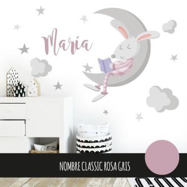Lapin et la lune. Rose - Stickers bébé décoratifs