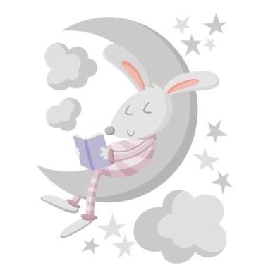 Conejito leyendo en la luna. Rosa – Vinilos decorativos para bebé Vinilos infantiles Bebé Decora la habitación del bebé con éste dulce vinilo del conejo leyendo en la luna.Vinilos decorativos de gran calidad para decorar paredes de manera muy original. Medidas aproximadas del vinilo montado (ancho x alto) Básico: 70x45 cm Pequeño:100x65 cm Mediano:145x90cm Grande:190x120 cm Gigante:250x150 cm   AÑADE UN NOMBRE AL VINILO DESDE 9,99€    vinilos infantiles y bebé Starstick