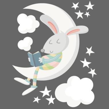 Conillet llegint a la lluna. Colors - Vinils decoratius per a nadó Vinils nadó Decora l'habitació del nadó amb aquest dolç vinil del conill llegint a la lluna. Vinils decoratius de gran qualitat per decorar parets de manera molt original.  Mides aproximades del vinil enganxat (ample x alt) Bàsic: 70x45 cm Petit:100x65 cm Mitjà:145x90 cm Gran:160x120 cm Gegant:250x150 cm   AFEGEIX UN NOM AL VINIL DES DE 9,99 €  vinilos infantiles y bebé Starstick