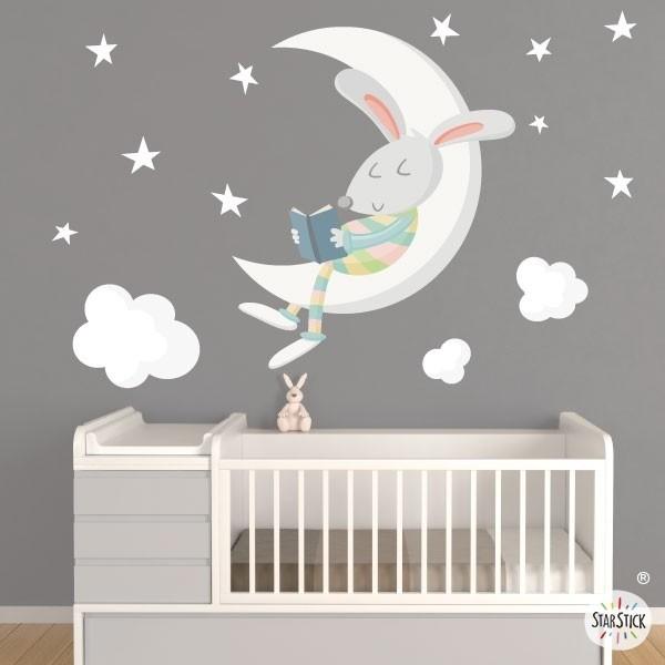 Bunny Liest Auf Dem Mond Farben Wandsticker Fur Baby