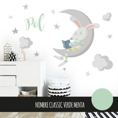 Lapin et la lune. Couleurs - Stickers bébé décoratifs
