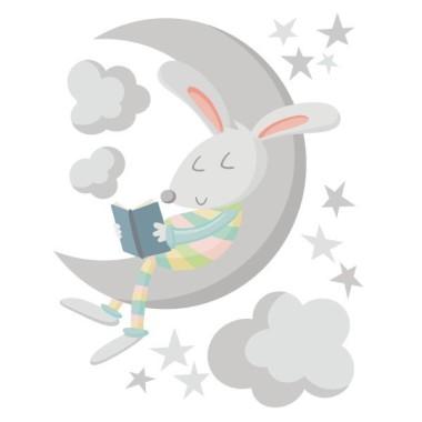Conejito leyendo en la luna. Colores – Vinilos decorativos para bebé Vinilos infantiles Bebé Decora la habitación del bebé con éste dulce vinilo del conejo leyendo en la luna.Vinilos decorativos de gran calidad para decorar paredes de manera muy original. Medidas aproximadas del vinilo montado (ancho x alto) Básico: 70x45 cm Pequeño:100x65 cm Mediano:145x90cm Grande:190x120 cm Gigante:250x150 cm   AÑADE UN NOMBRE AL VINILO DESDE 9,99€    vinilos infantiles y bebé Starstick