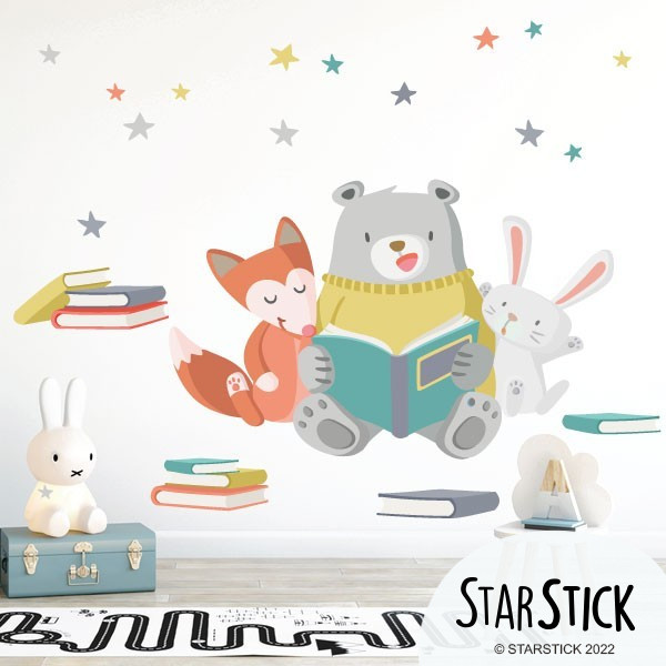 Vinilos infantiles - Animales leyendo