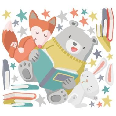 Vinilos infantiles - Animales leyendo Vinilos infantiles Bebé ¡Leer nos hace grandes! Motivamos a los niños a leer decorando las zonas de lectura con tiernos vinilos de dibujos o frases. Vinilos infantiles ideales para ambientes de cuentos, bibliotecas, escuelas... Medidas aproximadas del vinilo montado (ancho x alto) Básico: 70x50 cm Pequeño: 110x80 cm Mediano:140x100 cm Grande: 190x136 cm Gegante: 250x180 cm   AÑADE UN NOMBRE AL VINILO DESDE 9,99€ vinilos infantiles y bebé Starstick