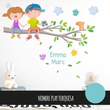 Vinyle pour enfants - Enfants sur la branche d'arbre