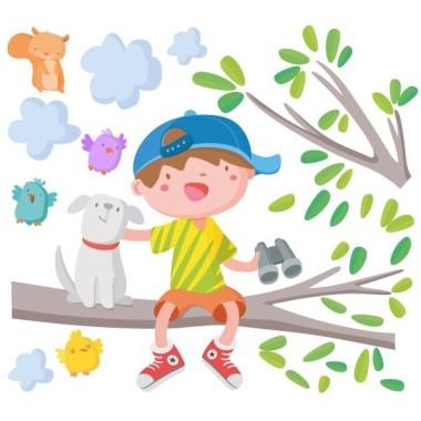 Vinilo infantil - Niño en la rama del árbol Vinilos infantiles Niño Vinilo infantil decorativo para habitaciones infantiles con un niño y su perrito en la rama del árbol. Vinilos infantiles originales de gran calidad y llenos de color. Medidas aproximadas del vinilo infantil montado (ancho x alto) Básico: 60x40 cm Pequeño: 85x60 cm  Mediano:110x85 cm  Grande: 150x100 cm Gigante:210x150 cm   AÑADE UN NOMBRE AL VINILO DESDE 9,99€  vinilos infantiles y bebé Starstick