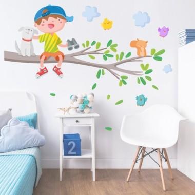 Vinyle pour enfants - Enfant sur la branche d'arbre