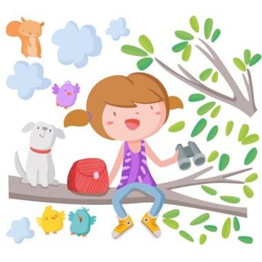 Vinilo infantil - Niña en la rama del árbol Vinilos infantiles Niña Vinilo decorativo para habitaciones infantiles con una niña y su perrito en la rama del árbol. Vinilos de gran calidad, llenos de color y con diseños exclusivos de StarStick. Medidas aproximadas del vinilo montado (ancho x alto) Básico: 60x40 cm Pequeño: 85x60 cm  Mediano:110x85 cm  Grande: 150x100 cm Gigante:210x150 cm   AÑADE UN NOMBRE AL VINILO DESDE 9,99€  vinilos infantiles y bebé Starstick