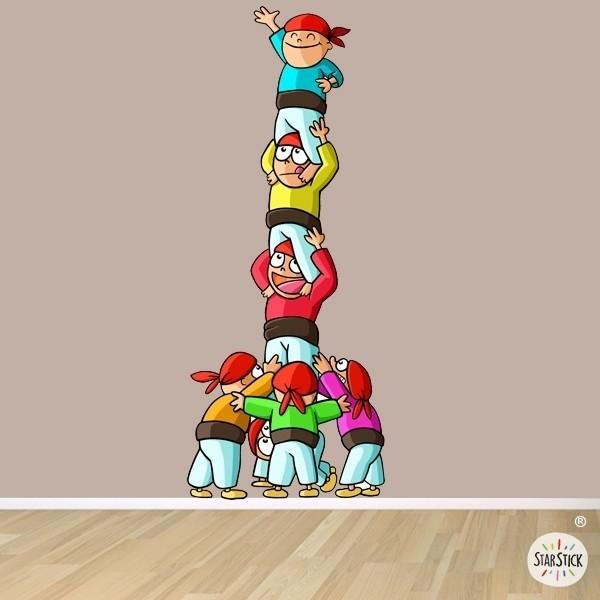 Castellers - Vinilo infantil TODOS -Vinilos Infantiles  Vinilo de pared con una torre humana. Medidas aproximadas del vinilo montado (ancho x alto) Pequeño:23x60 cm Mediano:40x100 cm Grande:53x133 cm Gigante:80x200 cm Diferentes combinaciones de color para escoger vinilos infantiles y bebé Starstick
