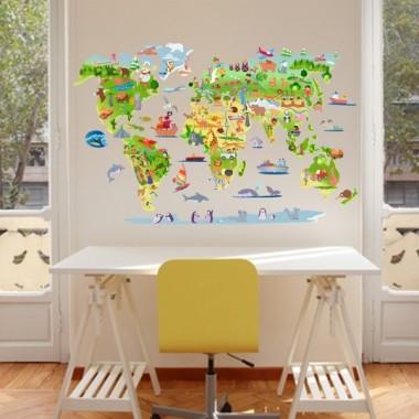 Carte du monde avec animaux - Sticker muraux chambre bébé Stickers mapamundi Dimensions approximatives (largeur x hauteur) Moyen:100x60 cm Grand:145x80 cm Géant:185x110 cm Supergéant:250x150 cm vinilos infantiles y bebé Starstick