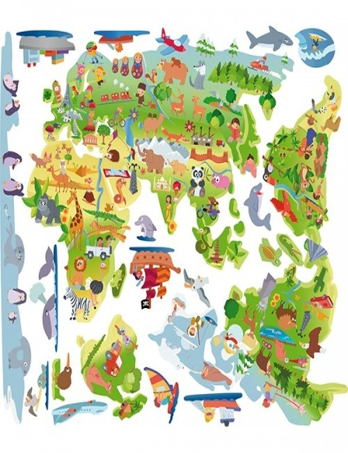 Vinilo infantil Mapa mundi de dibujos