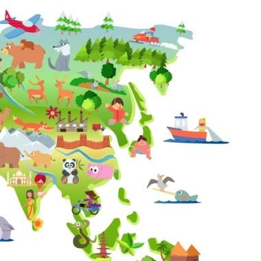 Mapa mundi de dibuixos - Vinil decoratiu de paret Vinils mapamundi Vinil mapamundi amb il·lustracions infantils. Vinil decoratiu per a habitacions de nens, nenes, nadons, escoles, col·legis, guarderies ... Un mapa mural divertit i molt decoratiu.  Mides aproximades del vinil enganxat (ample x alt) Mitjà:100x60 cm Gran:145x80 cm Gegant:185x110 cm Supergegant:250x150 cm  vinilos infantiles y bebé Starstick