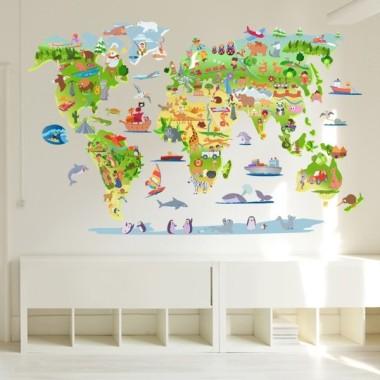 vinilos infantiles - Mapa mundi de dibujos