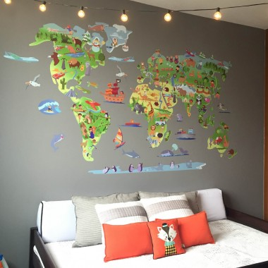Mapa mundi dibuixos - Vinil infantil