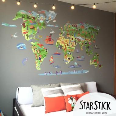 Mapa mundi de dibujos - Vinilos infantiles