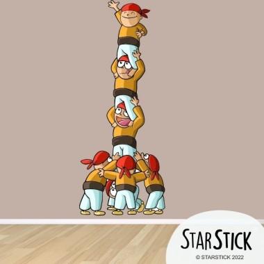 Castellers - Sticker enfant Collection Stickers enfants - tous- Dimensions approximatives (largeur x hauteur) Petit:23x60 cm Moyen:40x100 cm Grand:53x133 cm Géant:80x200 cm   vinilos infantiles y bebé Starstick