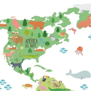 Sticker enfant carte du monde avec animaux