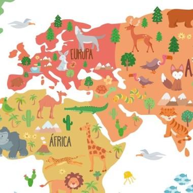 Mapa mundi amb dibuixos d'animals - Vinil decoratiu de paret Vinils mapamundi Vinil mapamundi amb il·lustracions d'animals. Vinil decoratiu per a habitacions de nens, nenes, nadons, escoles, col·legis, guarderies ... Un mapa mural divertit i molt decoratiu.  Mides aproximades del vinil enganxat (ample x alt) Petit:75x45 cmMitjà:100x60 cmGran:150x85 cmGegant:190x110 cmSúper Gegant:245x140 cm  vinilos infantiles y bebé Starstick