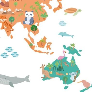 Carte du monde avec animaux - Sticker muraux chambre bébé Stickers mapamundi Dimensions approximatives (largeur x hauteur) Petit:75x45 cmMoyen:100x60 cmGrand:150x85 cmGéant:190x110 cmSuper Géant:245x140 cm  vinilos infantiles y bebé Starstick