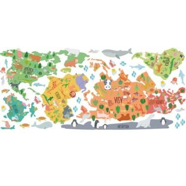 Mapa mundi con dibujos de animales - Vinilos decorativos de pared Vinilos mapamundi Vinilo mapa mundi con ilustracionesde animales. Vinilo decorativo para habitaciones de niños, niñas, bebés, escuelas, colegios, guarderías... Un mapa mural divertido y muy decorativo. Vinilo exclusivo de StarStick vinilos. Medidas aproximadas del vinilo montado (ancho x alto) Pequeño:75x45 cm Mediano:100x60 cm Grande:150x85 cm Gigante:190x110 cm Súper Gigante:245x140 cm vinilos infantiles y bebé Starstick
