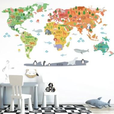 Weltkarte mit zeichnungen von tieren 2018 - wandsticker wand