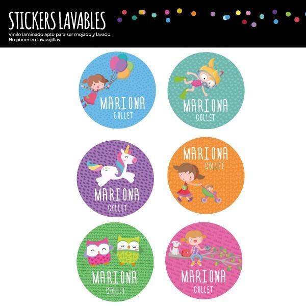 Étiquettes personnalisées. Rondes grand - Modèle 27 Étiquettes personnalisées rondes - Grand Vous pouvez personnaliser tout ce que vous voulez avec les étiquettes StarStick.Étiquettes de grande qualité est résistante à l'eau. Bouquins, cahiers, biberons, gourdes, boîtes à tartines...En plus d'utiles les étiquettes StarStick, sont le plus chic. Matériau:Sticker autocollantpelliculage Dimensions: 55 mm de diamètre Unités: Lots de 6, 12 ou 24 étiquettes Lignes imprimables: 2 vinilos infantiles y bebé Starstick