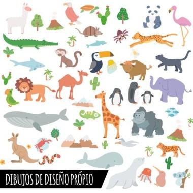 Mapa mundi amb dibuixos d'animals - Tons gris - Vinil decoratiu de paret Vinils mapamundi Vinil mapamundi amb il·lustracions d'animals. Vinil decoratiu per a habitacions de nens, nenes, nadons, escoles, col·legis, guarderies ... Un mapa mural divertit i molt decoratiu.  Mides aproximades del vinil enganxat (ample x alt) Petit:75x45 cmMitjà:100x60 cmGran:150x85 cmGegant:190x110 cmSúper Gegant:245x140 cm  vinilos infantiles y bebé Starstick